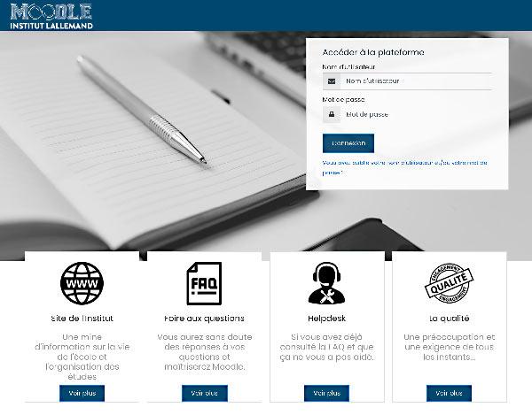 Page d'accueil de la plateforme e-learning